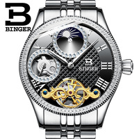 Switzerland BINGER Brand Men Skeleton Watches Automatic Mechanical Men Watches Waterproof Wristwatches Clock Reloj Hombre