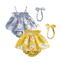 Summer Baby Girl Outfits Set Flower Printed Sleeveless Top T-shirt Shorts Headband 3 Pcs Infant Clothes
