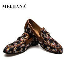 MEIJIANA New Arrival Canvas Shoes Men Loafers Fashion Round Toe Print Slip On Mens Dress Luxury Party And Prom