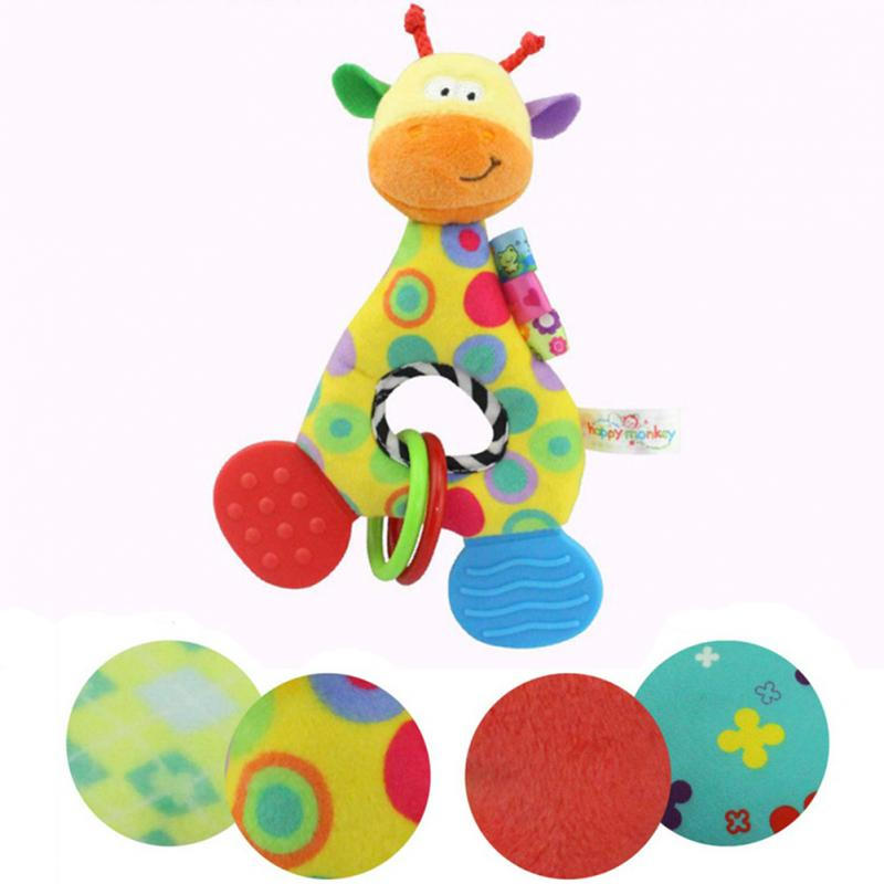 High Quality Animal Baby Rattle Teether Rattle O Type Holding Baby Toys