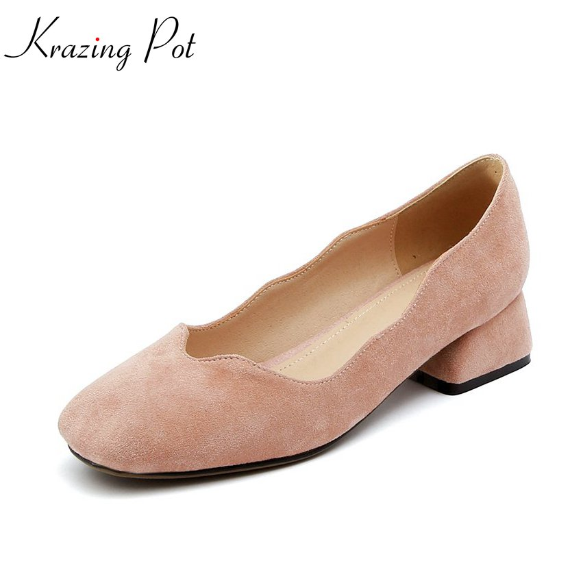 Krazing pot 2018 kid suede med heels shallow solid sweet women pumps square toe simple style concise lace work fashion shoes L70 krazing pot kid suede zip breathable
