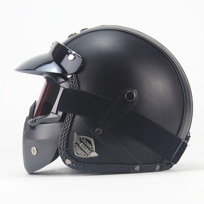 Nouveau noir adulte visage ouvert demi PU cuir casque Harley Moto Moto casque vintage Moto Moto Vespa avec masque