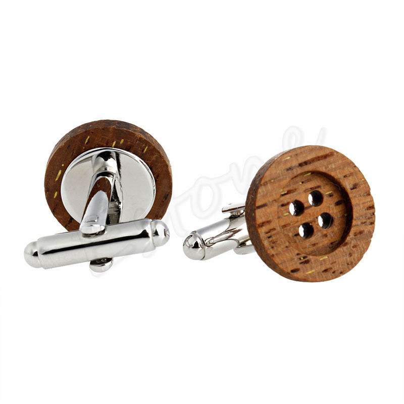 1 Pair Mens Funky Wooden Button Cufflinks Vintage Style For Party Wedding Gift