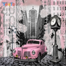 Yeele Pink Car Clock Modern Buliding Stone Road Trip Photography Backgrounds Customized Photographic Backdrops for Photo Studio road trip