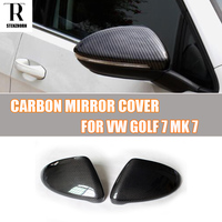 Real Carbon Fiber Replaced Style Side Mirror Cover Cap For VW Golf 7 MK7 2013 2016