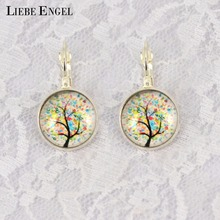LIEBE ENGEL Vintage Life Tree Earrings Silver Color French Lever Back Glass Cabochon Copper Earring for Women Best Gift 2017