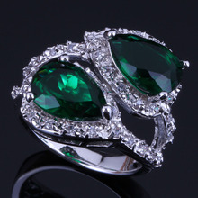 Unique Pear Green Cubic Zirconia White CZ 925 Sterling Silver Ring For Women V0468