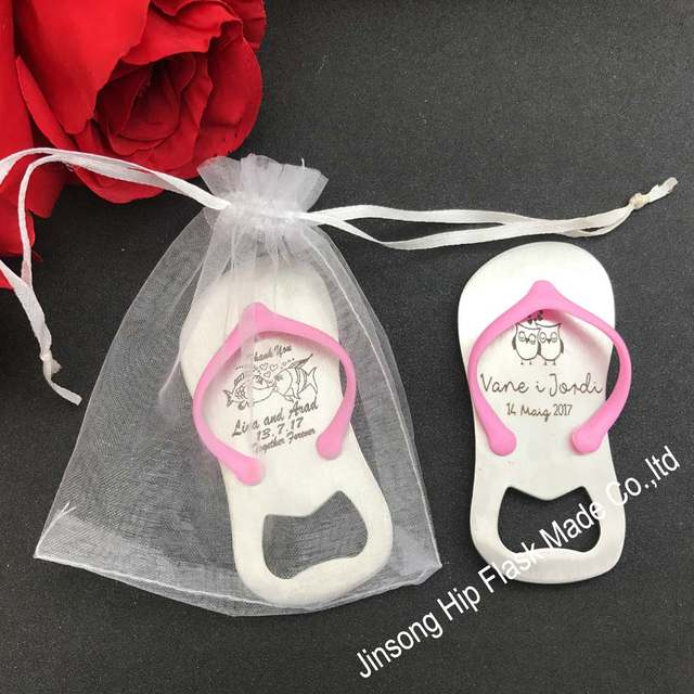 70f2a75908ee29 100pcs Personalized Guest gift of wedding favors and gifts --Groom and  Bride name show on the Top Flip-Flop Bottle Opener