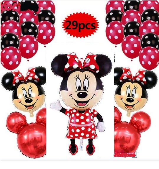 29pcs/lot 110CM Minnie Mickey mouse head foil balloons red birthday party Decor 12 inch Polka Dot Latex Balloon baby shower