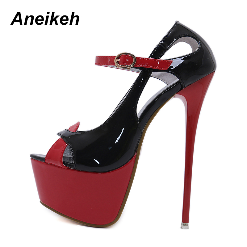Aneikeh Women Pumps Shoes 2018 Summer Platform Open Toe Spike Heels Sandals  Shoes Sexy Woman 16 CM Red Party Heels Party Shoes fb347657e2cf