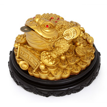 Resin tripods toad Chinese lucky money frog sculpture and coin feng shui home accessories bring wealth 6.5 inches