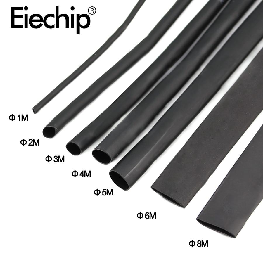 8 Meter/set Heat Shrink Tube Kit 1/2/3/4/5/6/8/10mm 2:1 Black Heat Shrink Tubing Shrinkable Sleeving Wrap DIY Connector Wire Kit(China)