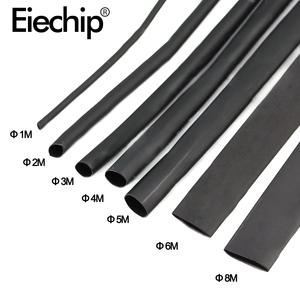 8 Meter/set Heat Shrink Tube kit 1/2/3/4/5/6/8/10mm 2:1 Black Heat Shrink Tubing Shrinkable Sleeving Wrap DIY Connector wire kit(China)
