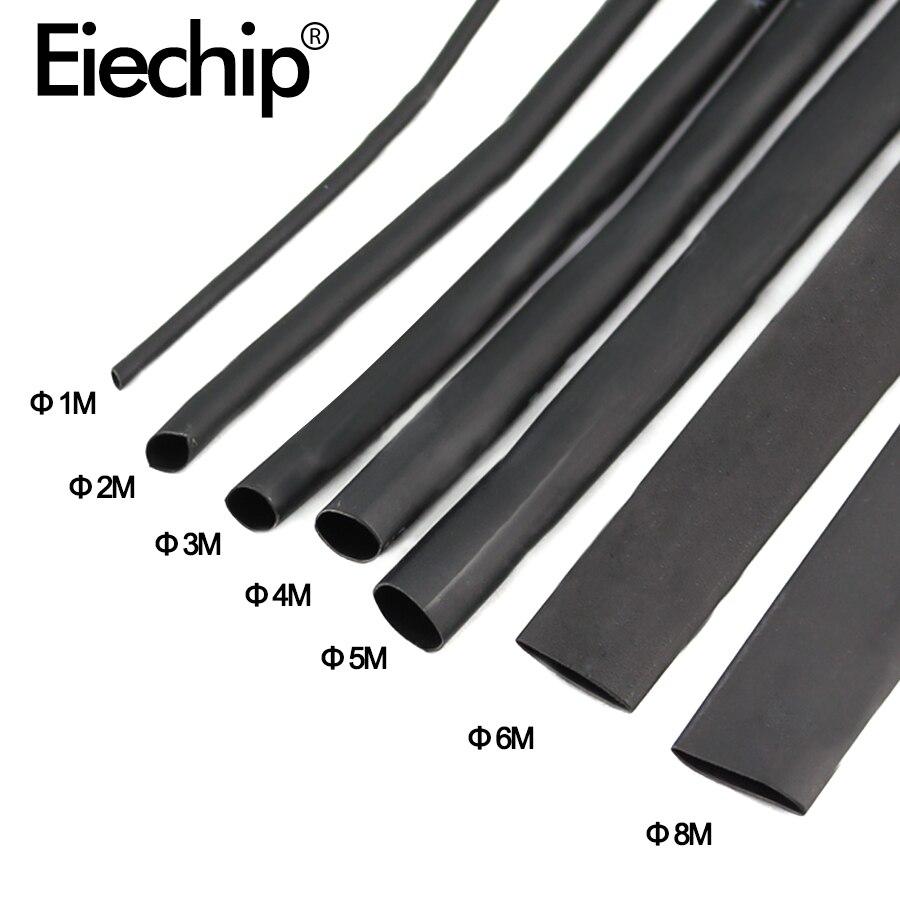 8 medidor/conjunto kit de tubo de psiquiatra de calor 1/2/3/4/5/6/8/10mm 2:1 preto tubo de psiquiatra de calor shrinkable sleeving envoltório diy conector fio kit