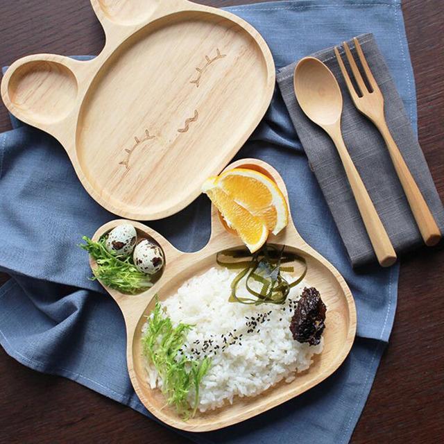 Cute Rabbit Wooden Kid's Plate