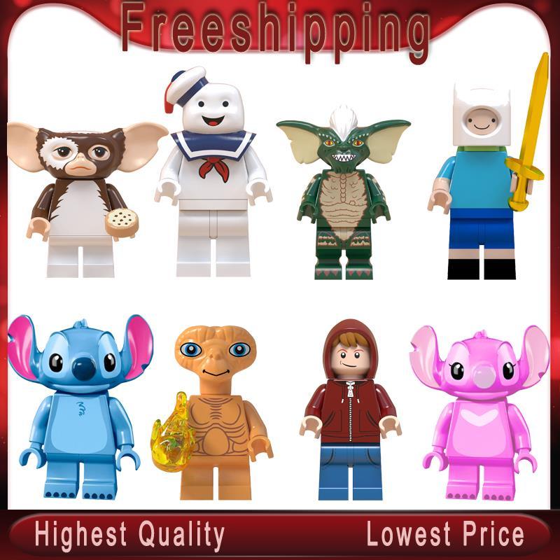 Stitch ET Elliott Angie Gizmo Stay Puft Finn Stripe   Building Blocks Toys For Children Gift Gremlins WM6049