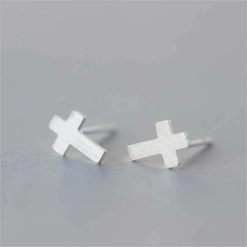 100% 925 Sterling Silver Cross Stud Earrings for Women Christmas Gift Jewelry pendientes boucle d oreille A062