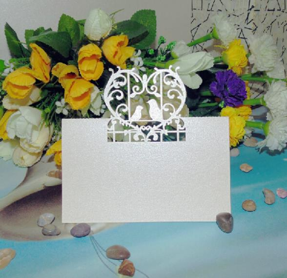 120pcs/lot Wedding Party Paper Place Card Two Birds Heart Birdcage Design Guest Name Holder Table Number Card wc419