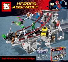 웹 전사 궁극적 인 다리 스파이더 맨 스파이더 소녀 스칼렛 거미 1179pcs 빌딩 블록 벽돌 76057 레고와 호환 가능