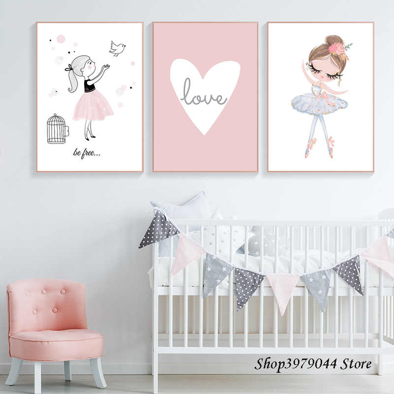 Детская комната мультфильм плакат Детский интерьер для комнаты девушки настенные живописные картины Детские картины для гостиной стены без рамы