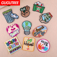 GUGUTREE embroidery star gesture clean patches letter badges applique for clothing YX-287