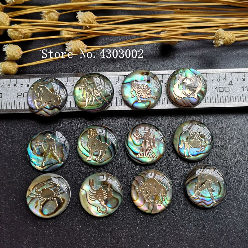 5sets lot 12 Zodiac Horoscope Natural Mother of Pearl Shell for DIY Necklace Jewelry Zodiac MOP