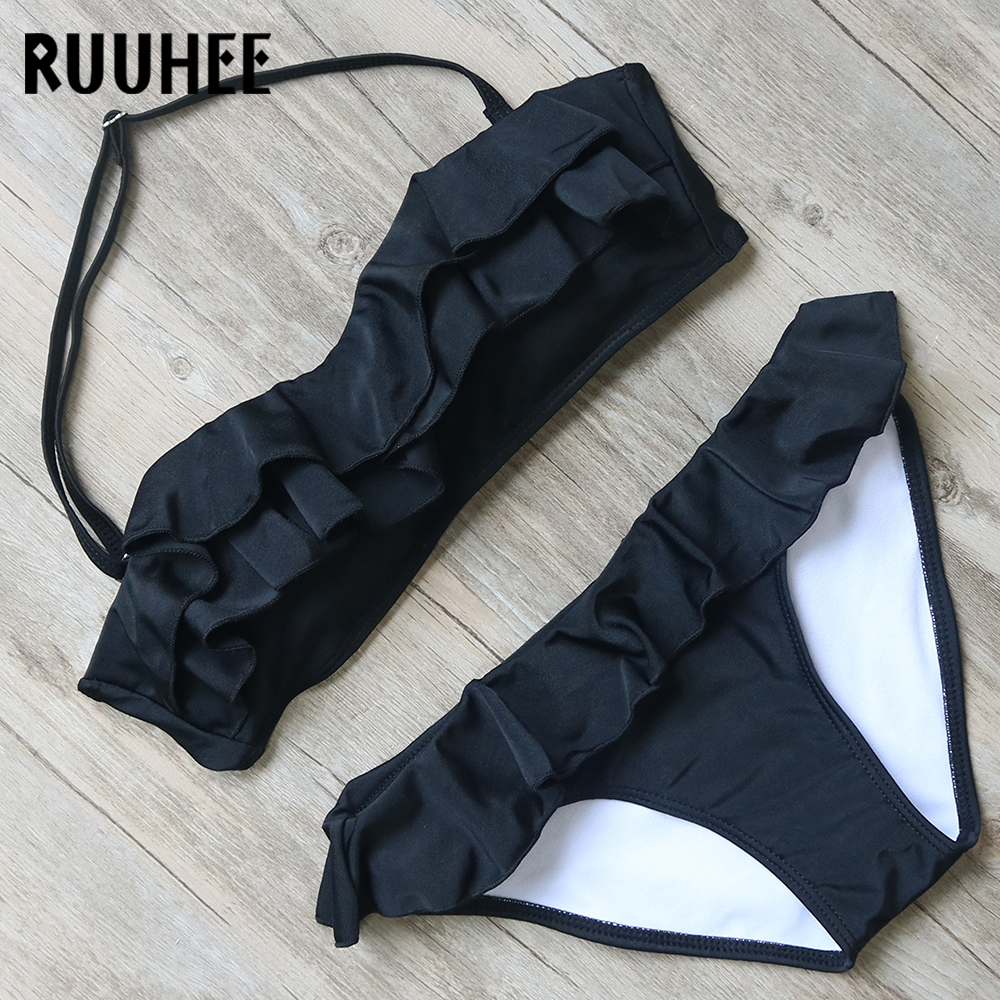 RUUHEE Bikini Push Up Swimwear Women Swimsuit Bathing Suit 2017 Solid Color Bikini Set Maillot De Bain Biquini Female Beachwear ruuhee bikini swimwear women 2017 swimsuit bathing suit brazilian beachwear push up bikini set maillot de bain biquini swim wear