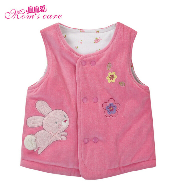 Rabbit Embroidery Thick Warm Cotton Padded Baby Vest Infant Waistcoat Newborn Jacket Girl's Outerwear Kids Autumn Winter Clothes