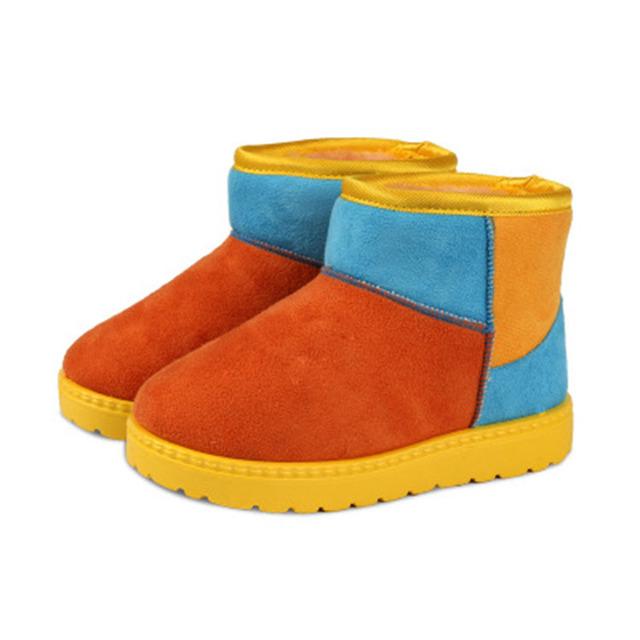 Diseñador de moda de la nieve del invierno patchwork bebé del niño botas
