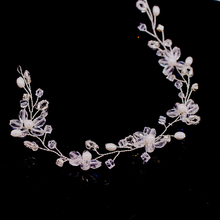 bohemian vintage wedding bridal crystal glass beads knitted braided flower headband hairband hair accessories bride h