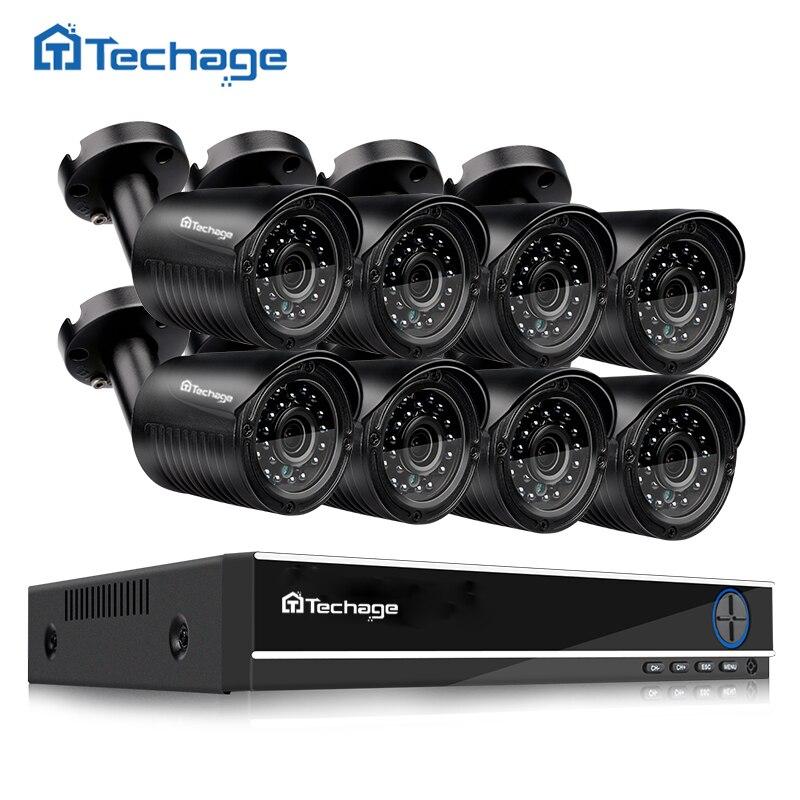 Techage 8CH 720 p AHD CCTV Système DVR Kit 8 pcs 1.0MP 1200TVL IR Extérieure Étanche AHD Caméra de Sécurité P2P vidéo Surveillance Ensemble
