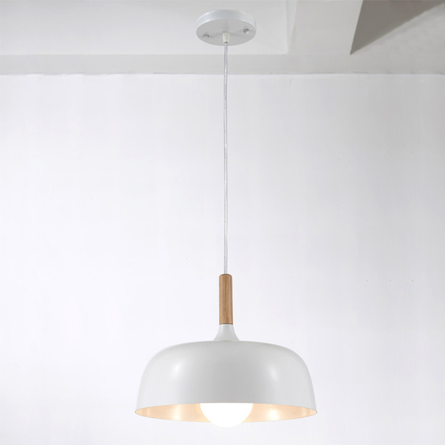 Industrial Vintage Pendant Lights Dining Room Kitchen Loft Lamp Aluminum Wood White Lampshade Decor Home Lighting E27 110-220V