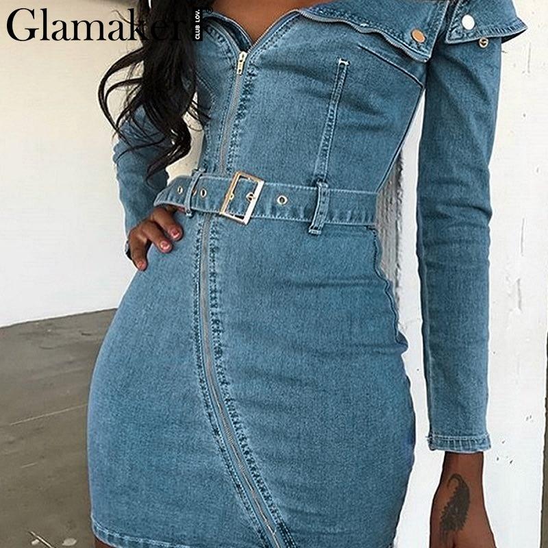 Glamaker Off Shoulder Sexy Mini Jeans Dress Women Buckle Belt Bodycon Denim Dress Summer Feme Elegant Party Club Dress Vestidos