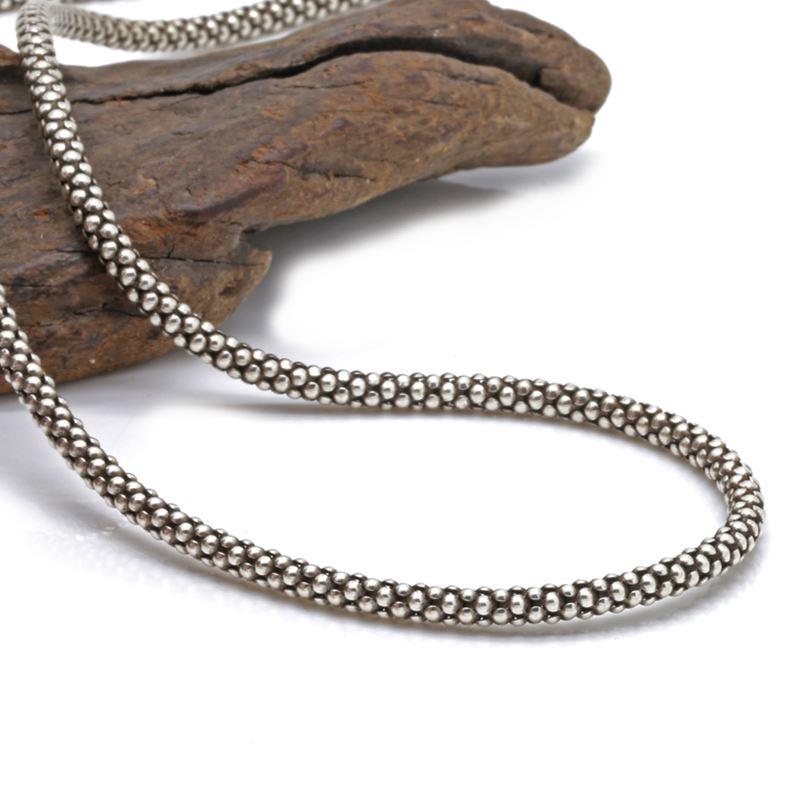 925 argent sterling hommes et femmes rétro Thai argent sauvage 3mm épais collier de maïs (3AHP1)