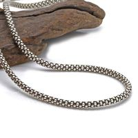 925 sterling silver men and women retro Thai silver wild 3mm thick corn necklace (3AHP1)
