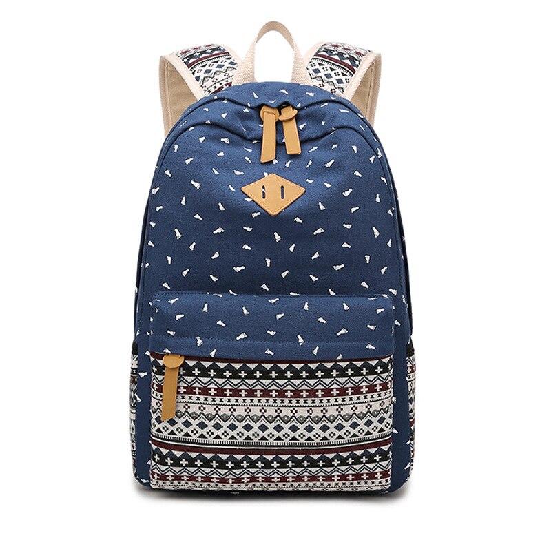 Горячие Винтаж Для женщин печати рюкзак для школы подростков Обувь для девочек Холст Шко ...