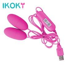 Ikoky двойной вибратор 12 Частота Вибрационный яйцо клитора стимулятор USB взрослый продукт Секс-игрушки для женщин женская мастурбация(China (Mainland))