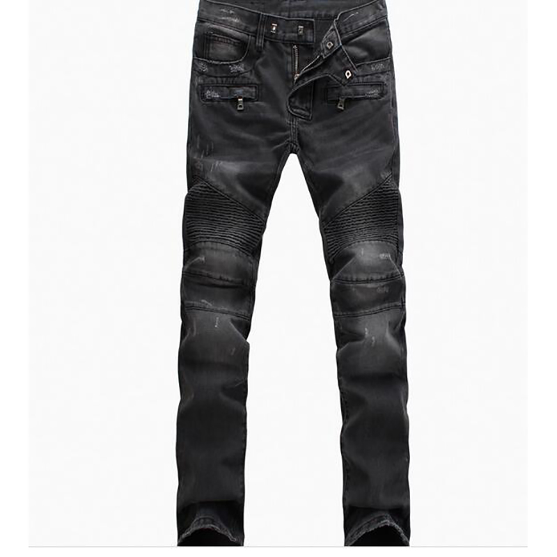 Trousers Denim Motorcycle Pant Jeans Men Pants Fear of God Boost Biker Balmai Man Masculina Ripped Skinny Slim Fit Joggers Black men jeans fear of god ripped blue mens holes leisure straight denim designer mens jeans streetwear clothing pant oversize 28 40