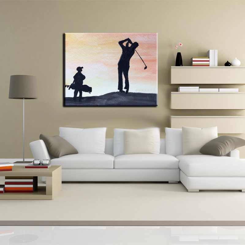 100%Handpainted The Man Favorite Outdoor Sport Golf Oil Painting On ...