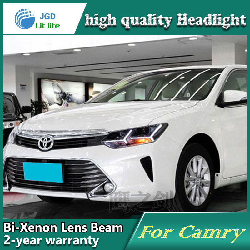 Car Styling Head Lamp case for Toyota Camry 2015 LED Headlights DRL Daytime Running Light Bi-Xenon HID Accessories for toyota camry led headlights car styling 2015 for camry xenon headlights led drl light guide bifocal lens headlight light
