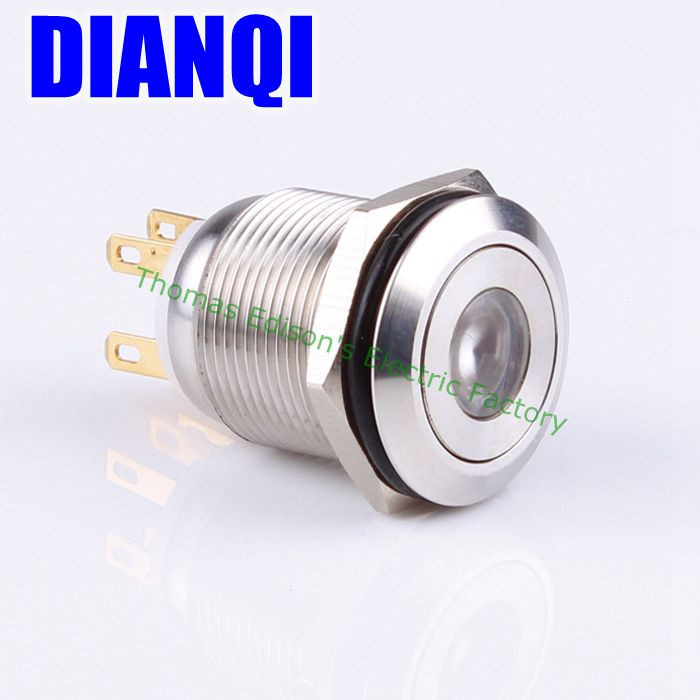 19mm waterproof push button stainless steel Push Switch 1NO 1NC flat round momentary dot illuminated 19HX1D/G,F.KB 1 x 16mm od stainless steel push button switch flat round screw terminals