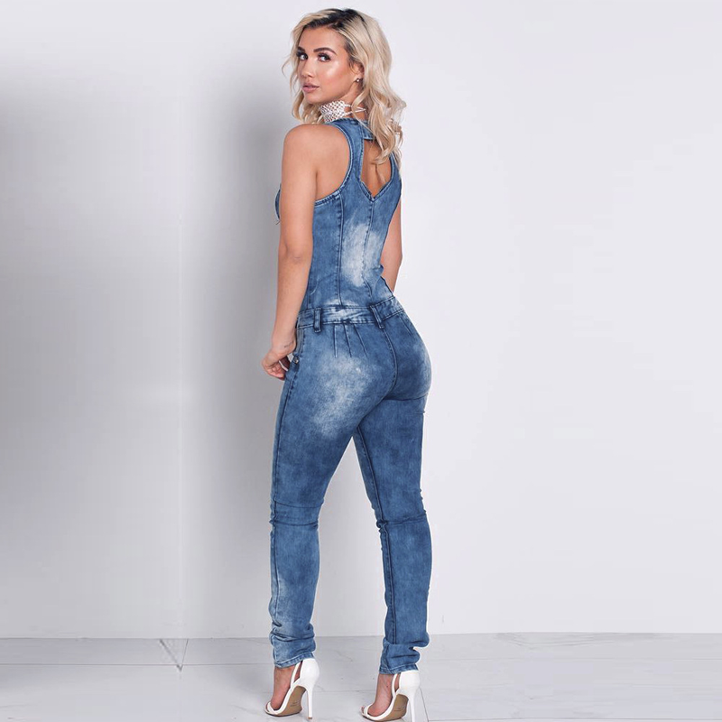 5c4823b8bc4 Denim Overalls Womens Jean Jumpsuits Washed Jeans Denim Casual Backless  Rompers Zipper Deep V Neck Slim Fit One-piece Long Pants