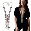 Nueva moda exagerada mujeres largo de Boho collar Charm cristal con incrustaciones de doble cadena borla de la joyería collar llamativo