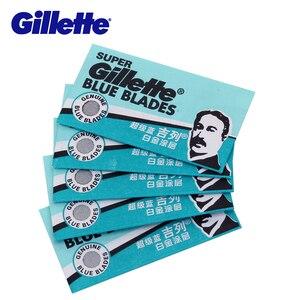 Image 2 - Gillette süper mavi tıraş bıçağı bıçakları erkekler için paslanmaz çelik 5 bıçakları x 20 kutuları çift kenarlı tıraş bıçakları kafaları