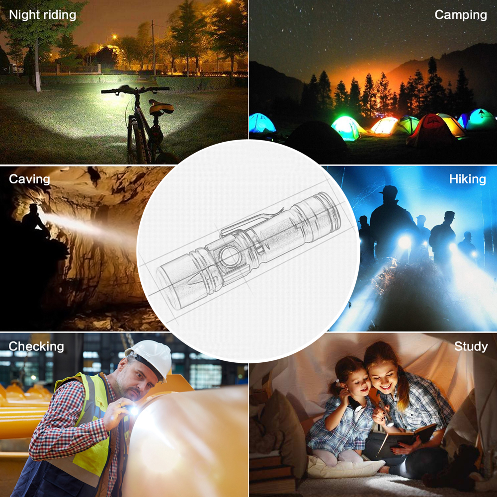 Купить с кэшбэком 4 Color LED Flashlight Built-in Rechargeable battery Support zoom 3 modes Lighting distance of 300 meters Suitable for outdoor