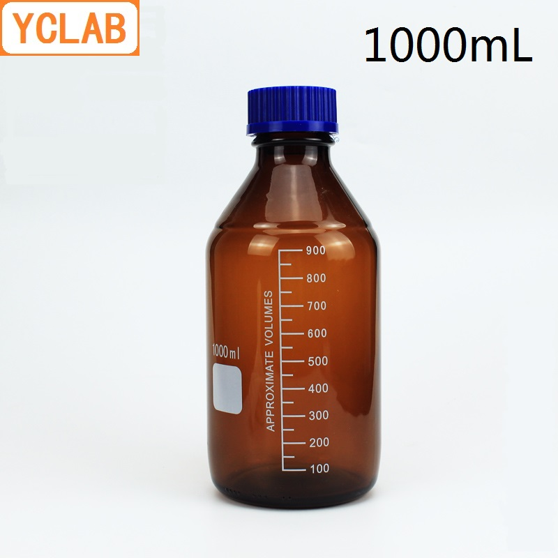 YCLAB 1000mL Reagent Bottle Screw Mouth with Blue Cap 1L Brown Amber Glass Medical Laboratory Chemistry Equipment