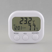 New Digital Thermometer Humidity Meter Air Temperature Moisture   Clock   TA638 White Drop Shipping Tool Freeshipping