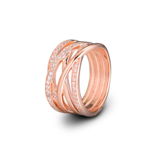 Original 925 Sterling Silver Ring Rose Gold Openwork Eternity Entwined Crystal Rings For Women Wedding Party Gift Fine Jewelry helon half eternity band women s fine jewelry solid 10k rose gold pave natural diamonds engagement wedding eternity fine ring
