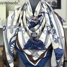 6c779d4cb8c 2018 écharpes de conception pour les femmes Bandana châles Hijabs marque de luxe  carré foulard en soie femme imprimé chaîne foul.