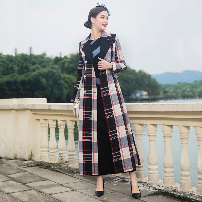 Britannique Dz1007 Femmes Luxe Breasted Hiver Pour Double Taille Automne De Plus La Style Outwear Tranchée Slim Plaid Manteau dnYWqdTx